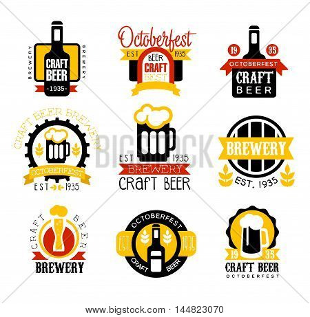 Craft Beer Set Of Logo Design Templates. Black And Yellow Vector Labels With Text And Establishment Date For Brewery Promotion.