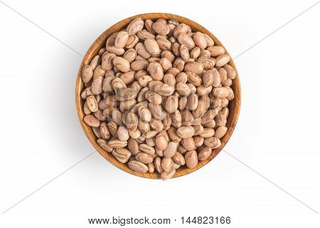 Carioca Beans into a bowl in white background