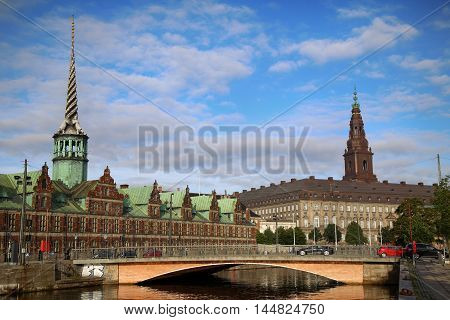 Morning view on Christiansborg Palace and The Borsen Oldest Building in Slotsholmen Copenhagen Denmark