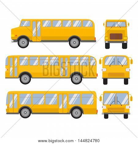 Set vector flat city and school bus modern and retro old vintage.Public transport.Design elements for the websites, booklets, leaflets.