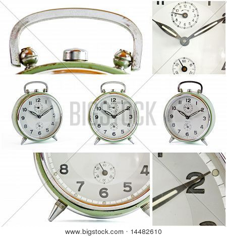Collage Of Old Vintage Green Alarm Clock Isolated On White