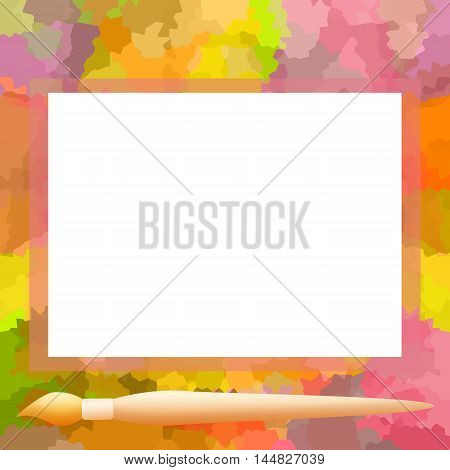 Bright splotches colorful photo frame and painting brush