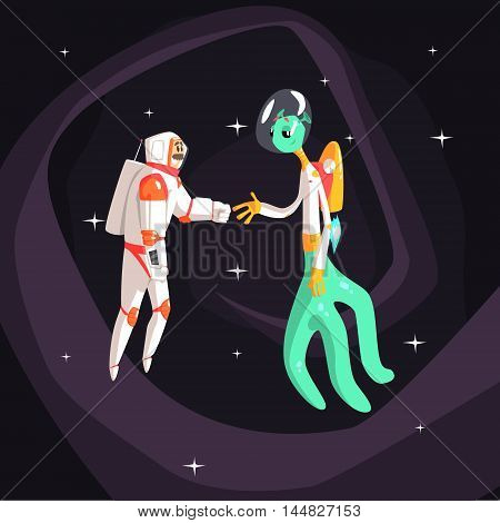 Man Astronaut Shaking Hands With Green Male Alien On Dark Night Sky Background. Cool Colorful Cosmic Fantasy Vector Illustration In Stylized Geometric Cartoon Design
