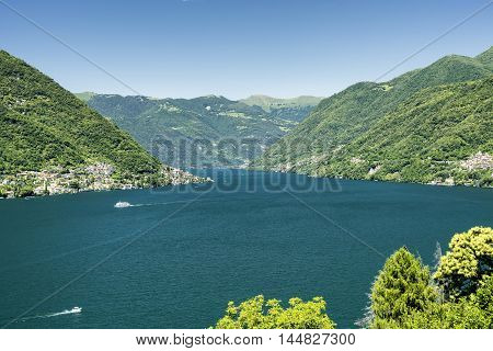 Lake of Como (Lario Lombardy Italy): Carate Urio seen from Faggeto Lario. Landscape at summer