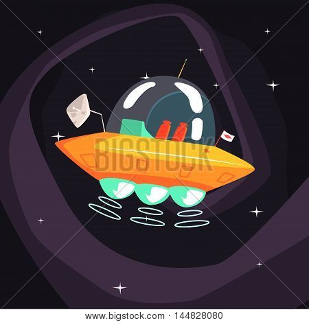 Flying Saucer Alien Spacecraft With Fantastic Engine On Dark Night Sky Background. Cool Colorful Cosmic Fantasy Vector Illustration In Stylized Geometric Cartoon Design