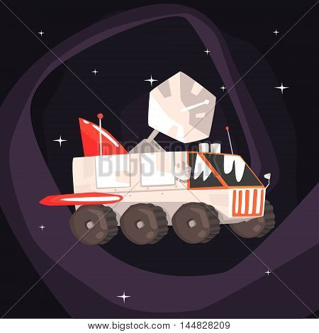 Explorer Rover Car With Wings And Satellite Dish On Dark Night Sky Background. Cool Colorful Cosmic Fantasy Vector Illustration In Stylized Geometric Cartoon Design