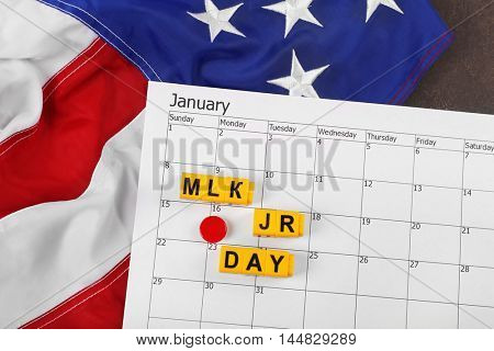 Calendar with marked Martin Luther King day. American holidays concept