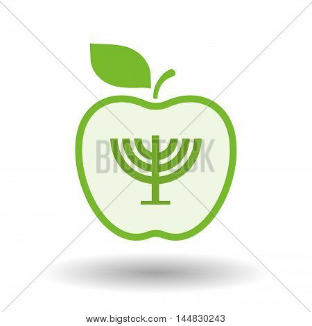 Isolated  Line Art  Apple Icon With A Chandelier
