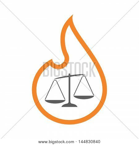 Isolated  Line Art  Flame Icon With  An Unbalanced Weight Scale