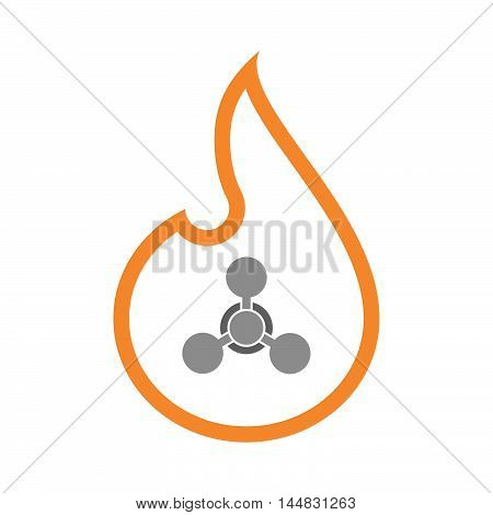 Isolated  Line Art  Flame Icon With A Chemical Weapon Sign