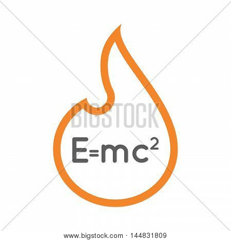 Isolated  Line Art  Flame Icon With The Theory Of Relativity Formula