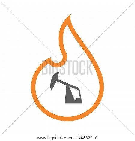Isolated  Line Art  Flame Icon With A Horsehead Pump