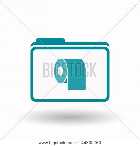 Isolated  Line Art Folder Icon With A Toilet Paper Roll