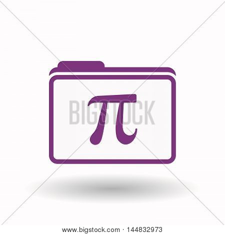 Isolated  Line Art Folder Icon With The Number Pi Symbol