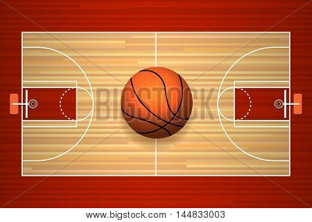 Basketball hardwood court floor top view vector illustration