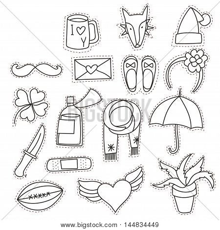 Set cartoon patch badges or fashion pin badges.Dog, shoe, cup, knife, umbrella, patch, letter, heart, christmas hat hand drawn vector line sketch.