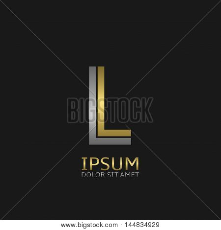 L letters logo template for your business company. Golden and silver colors
