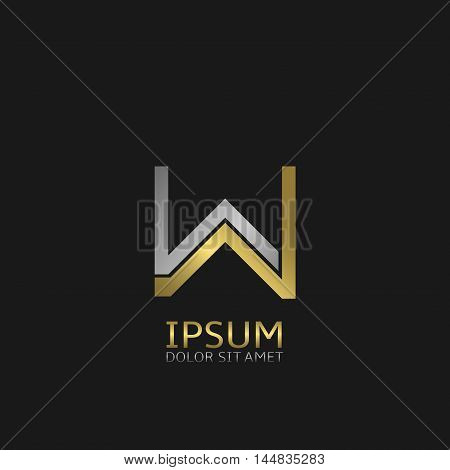 W letters logo template for your business company. Golden and silver colors