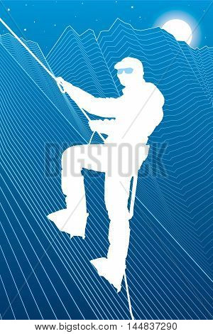 Climber in uniform on a snowy mountain, extreme sport, on high, to hitch, white lines illustration, vector design art poster
