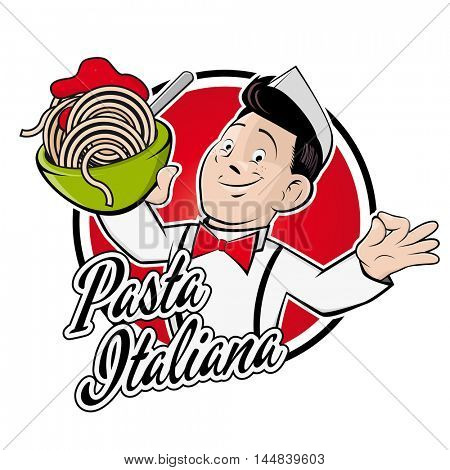 clipart of a happy man serving spaghetti with a text that means italian pasta