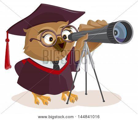 Teacher owl looks through telescope. Vector cartoon illustration