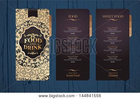 Design menu for restaurants. Menu design template. Background texture menu.