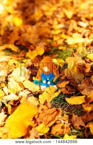 Beautiful felting elf in the autumn leaves
