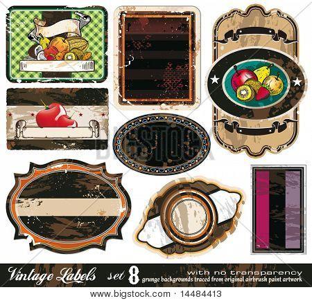 Vintage Labels Collection - 8 design elements with original antique style -Set 8