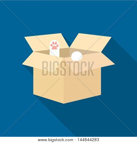 Cat in a carton box icon of vector illustration for web and mobile design