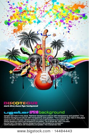 Tropical Music Event Disco Flyer with rainbow colours