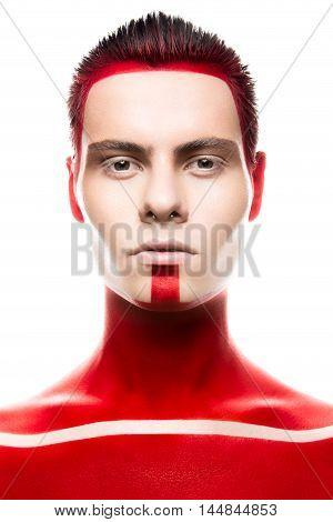 Superhiro art make up. Close up portret on a wight background. Man portret