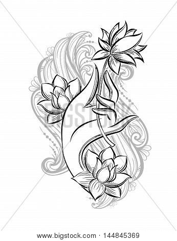 Buddha hand holding a lotus as a symbol of purity spirituality and enlightenment. Hand drawn vector isolated tattoo