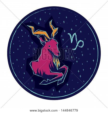 Zodiac sign Capricorn on night starry sky background. Vector illustration.