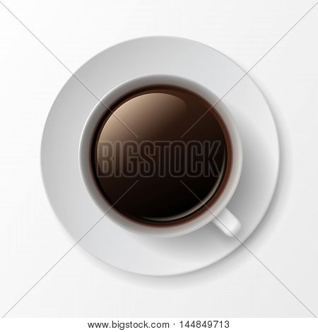 Vector Coffee Cup Mug with Crema Foam Bubbles Top View Isolated On White Background