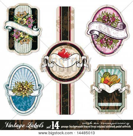Vintage Labels Collection - five design elements with original antique style -Set 14