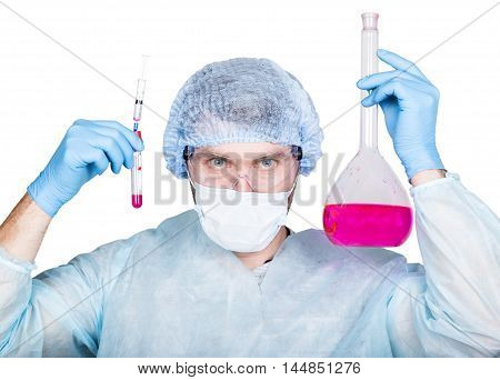 Funny crazy emotional chemist with flask. mad scientist in his laboratory experimenting on secret formulas
