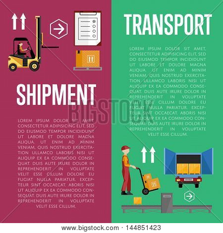 Shipment on warehouse. Distribution goods and shipment of goods in container. Logistic and warehouse infographics. Worldwide delivery process. Logistic service process flat vector illustration.
