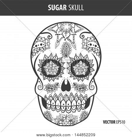 Day of the dead sugar skull vector. Mexican skull. Day of the dead skull. Dia de los muertos skull illustration.