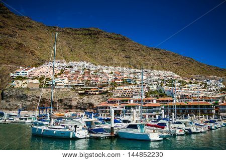 beautiful view of Los Gigantes marina by the Atlantic ocean in Tenerife Spain