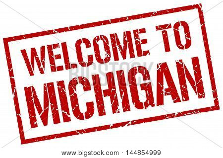 welcome to Michigan. stamp. grunge square sign