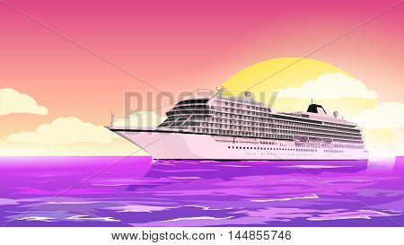 Cruise ship in the sea at sunset.