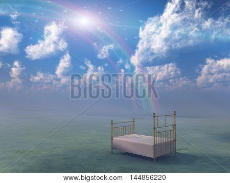 Bed in fantasy landscape  3D Rendered