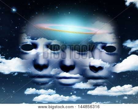 Three faces in sky. Galactic disk.  3D Rendered