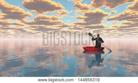 man rowing oars in the red upturned umbrella on water  3D Rendered