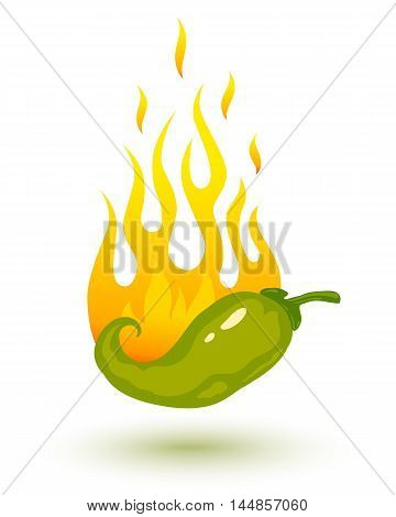 Vector illustration of burning chili pepper in fire