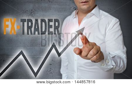 Fx Trader Touchscreen Is Operated By Man