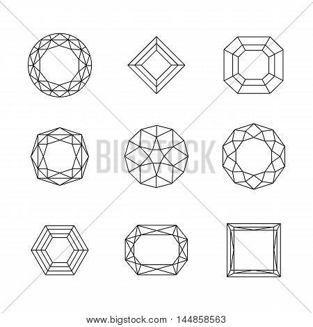 Vector set of diamond design elements. eps 10