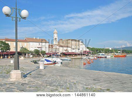 Promenade of Krk Town on Krk Island at adriatic Sea,Kvarner,Croatia