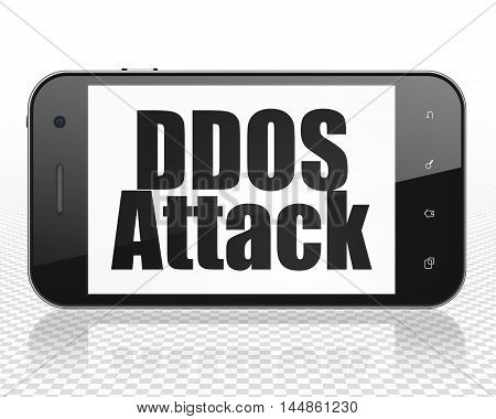 Privacy concept: Smartphone with black text DDOS Attack on display, 3D rendering