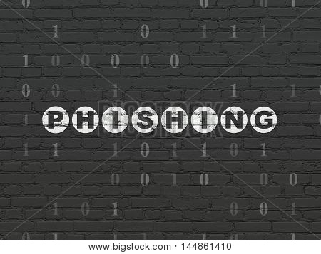 Protection concept: Painted white text Phishing on Black Brick wall background with Binary Code
